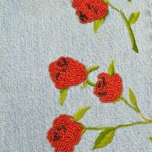GAP Jeans - Gap jeans vintage LG beaded roses embroidered stem